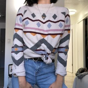 🎄Pink Rose Mock Neck white Sweater size large